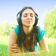 girl listening music  - stock photo