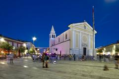 Our Lady of Angels church in Porec main square Stock Photos