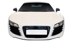 White fast car front view.jpg Stock Photos