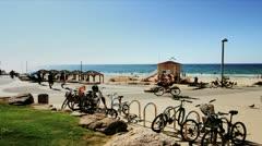 630 beach promenade in stop motion Stock Footage