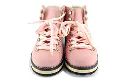 Woman pink hiking boots front view.JPG Stock Photos