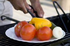 Vegetables ready for barbecue - stock photo