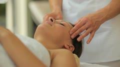 Woman having a head massage Stock Footage