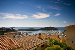 View on Vrsar roofs and islands Stock Photos