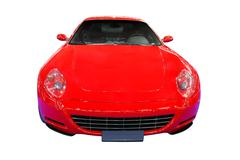 fast red car front view isolated.jpg - stock photo
