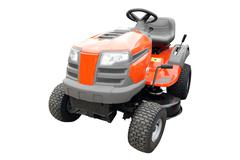 lawn mower front view isolated.jpg - stock photo