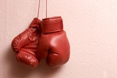 boxing gloves hanging - stock photo