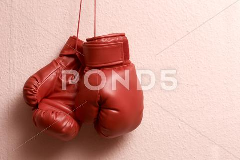 Stock photo of  boxing gloves hanging
