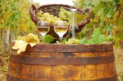 white wine on wooden barrel.JPG - stock photo
