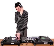dj with headphones play music.JPG - stock photo