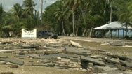 Stock Video Footage of Hurricane Storm Surge Damage To Road