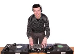 Dj with turntables play music.jpg Stock Photos