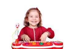 happy little girl play music.JPG - stock photo