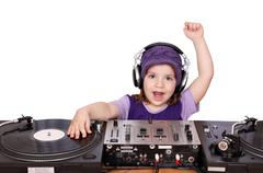 little girl dj fun and play music.jpg - stock photo