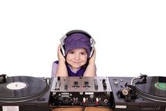 Little girl dj.jpg Stock Photos