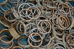 Stock Photo of random metal rings heap, industry details