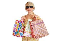 woman with sunglasses and shopping bag.JPG - stock photo