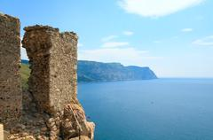 balaclava genoese fortress view (crimea, ukraine) - stock photo