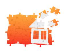 real estate puzzle - stock illustration