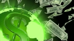 Flying Dollars Seamlessly Looping Video Background - stock footage