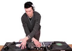 Dj with turntables play music45.JPG Stock Photos