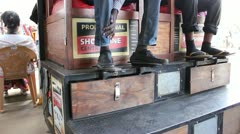 Customers Ready for a Shoe Shine   (HD) Stock Footage