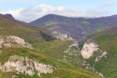 summer crimea mountain landscape (ukraine). great crimean canyon - stock photo