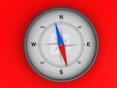 compass on the red background - stock illustration