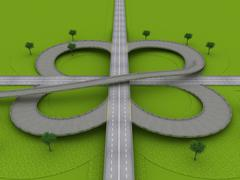 highway traffic roundabout on the green grass - stock illustration