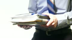 Businessman Holding His Documents Stock Footage