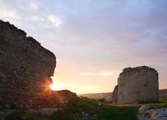 crimean ancient fortress sunset view (ukraine) - stock photo