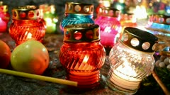 Oil lamp light heap, color diversity Stock Footage