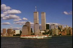 The World Trade Center, Twin Towers, The Circle Line, shot in 1994 Stock Footage