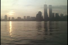 The World Trade Center, Twin Towers, dawn, shot in 1995 Stock Footage