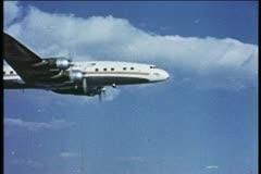 Trans World Airlines, TWA, Lockheed Constellation, 1950's, vintage, aerial Stock Footage