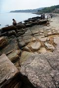 geological feature of tung ping chau - stock photo