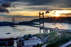 tsing ma bridge - stock photo
