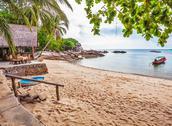 Tropical beach under gloomy sky Stock Photos