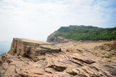 strang geological formation in tung ping chau in hong kong - stock photo