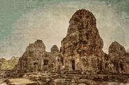 Ancient buddhist khmer temple in retro style Stock Photos