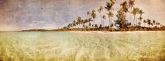 Exotic tropical beach in retro style Stock Photos