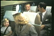 Trans World Airlines, TWA, onboard, luxury air travel, 1950's, vintage Stock Footage