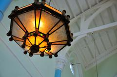 Stock Photo of old chandelier in the university hall of university of hong kong