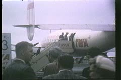 Trans World Airlines, TWA,  Stairway boarding the Constellation, 1950's Stock Footage