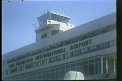 San Francisco International Airport tower, 1950's, archival, vintage Stock Footage