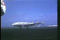 A Trans World Airlines Constellation taxiing, 1950s Stock Footage