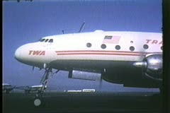 Trans World Airlines, TWA, The Constellation, 1950's, archival, run-up - stock footage