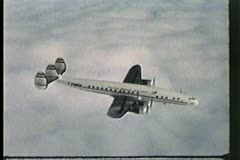 Trans World Airlines, TWA, The Constellation, 1950's, archival, aerial Stock Footage