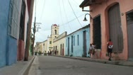 Stock Video Footage of Camagüey, Streetview, colonial buildings, schoolchildren
