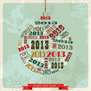 vintage happy new year 2013 bauble - stock illustration